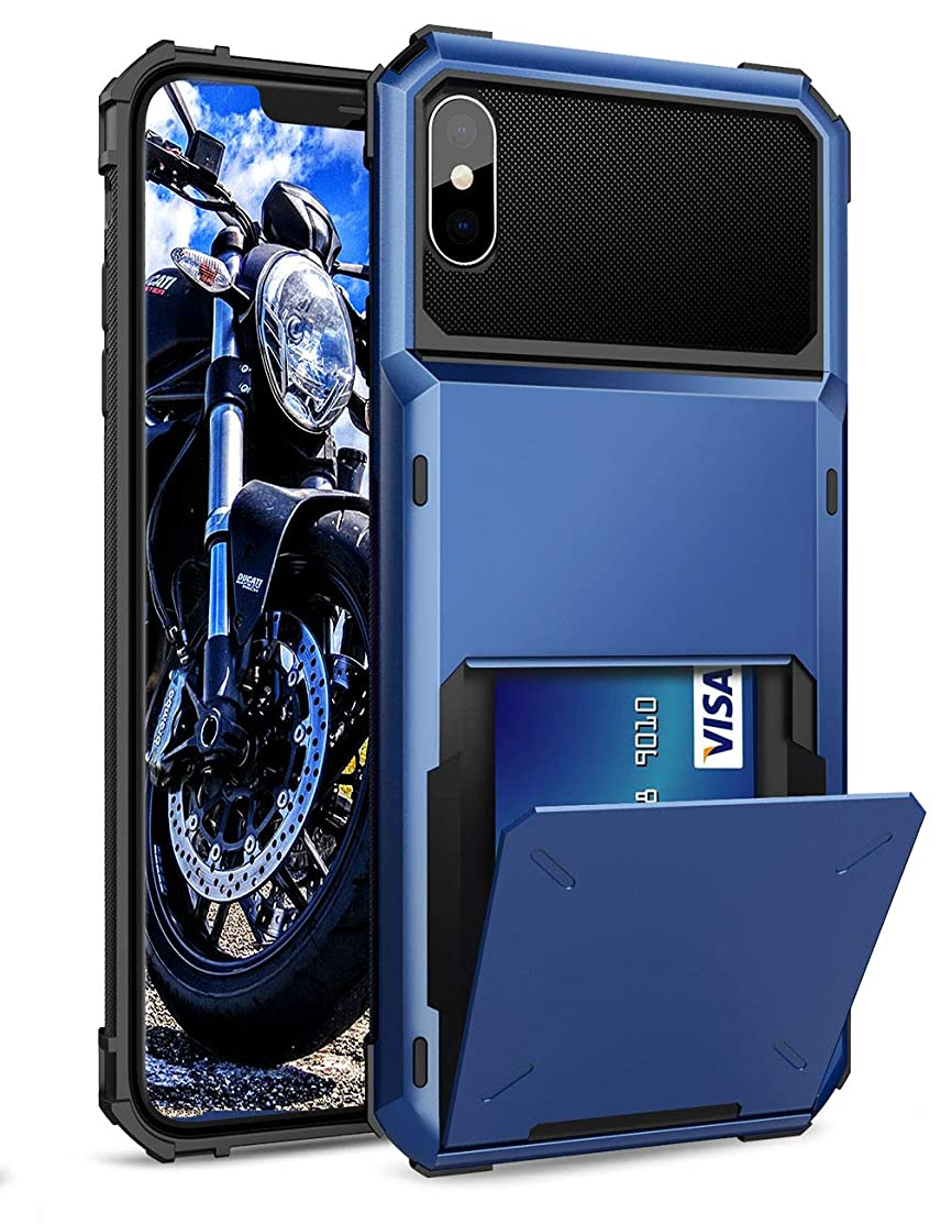 ELOVEN Case for iPhone X Case, iPhone Xs Case Card Slot Shock Absorption Wallet Card Holder Hidden Credit Card ID Cover Heavy Duty Drop Protection Rugged Bumper Protective for iPhone X/XS - Navy Blue