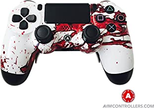 PS4 Slim DualShock Custom Playstation 4 Wireless Controller - Custom AimController Dexter Design with 4 Paddles. Upper Left Square, Lower Left X, Upper Right Triangle, Lower Right O