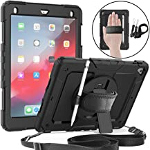 Jollyfit New iPad 9.7 Case 2018 (6th Gen) / 2017 (5th Gen), iPad Air 2, Heavy Duty Protective Case, 360 Degree Rotating Kickstand, Built-in Screen Protector, Hand & Shoulder Straps (Black)