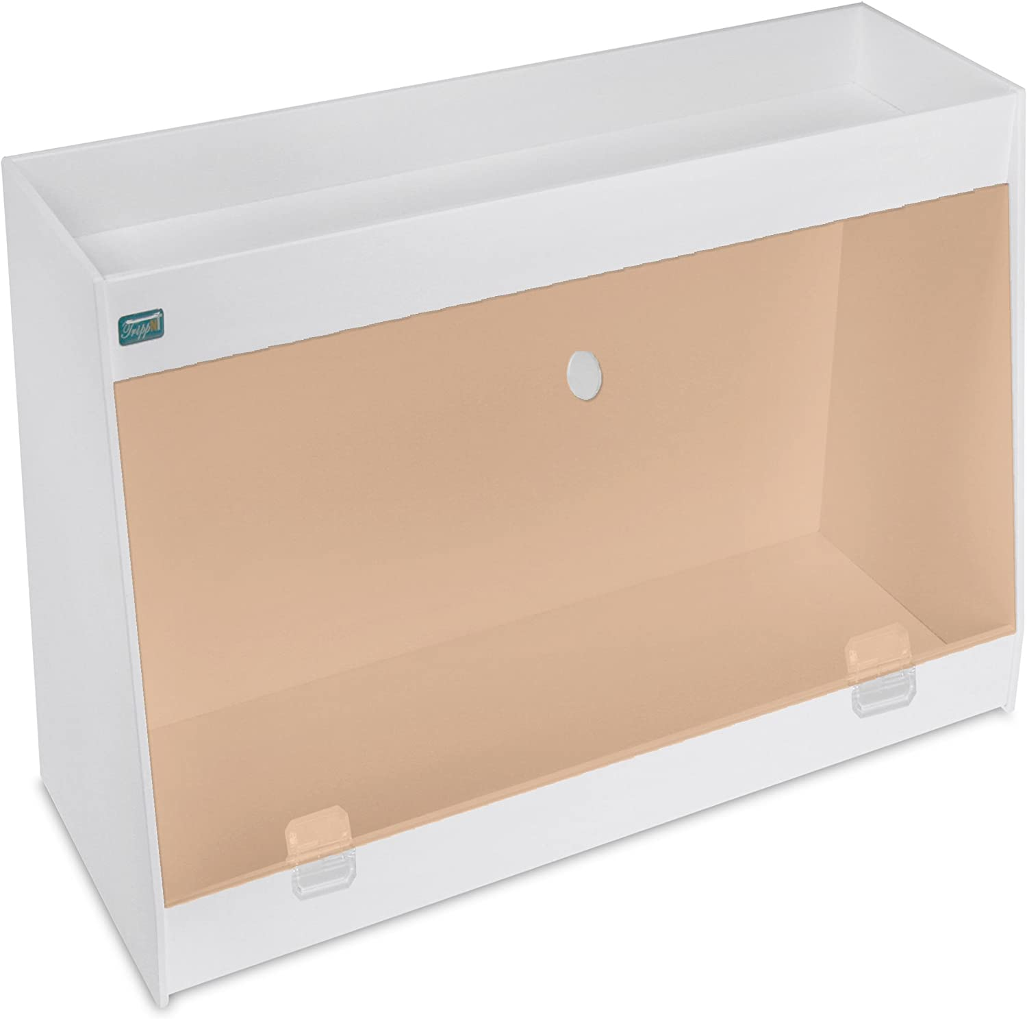 TrippNT 50606 PVC Angled Double Safety Shelves with orange Door, 24-Inch Width x 16-Inch Height x 9-Inch Depth, orange White