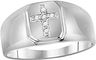 Dazzlingrock Collection 10kt White Gold Mens Round Diamond Brushed Matte Cross Band Ring 1/20 ctw