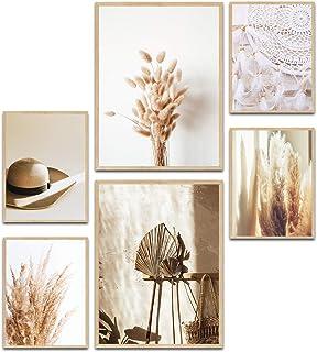 MUUDLY Lot de 2 posters muraux modernes pour salon et chambre à coucher, 2 x A3 & 4 x A4, images comme décoration murale (...