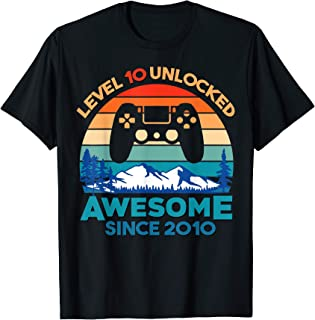 Level 10 Unlocked Birthday 10 Years Old Awesome Since 2010 T-Shirt