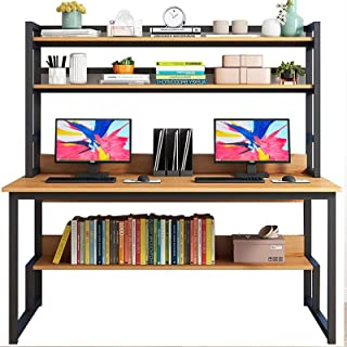 Computer Desk with Hutch Storage Shelves, 55 inch Home Office Working Table with Tower Storage for Home Office, PC Laptop Home Office Table Workstation