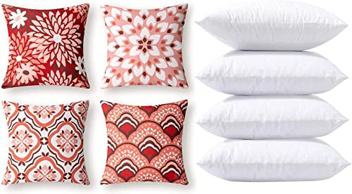 popular Phantoscope Bundles, Set of 4 high quality New Living Series Dahlia and Orental Print Red and Pink Pillow Covers lowest 18 x 18 inches & Set of 4 Pillow Inserts 18 x 18 inches online sale