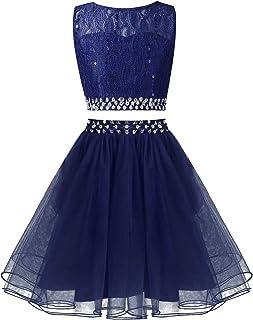 Kaerm Kids Girls Sequin Party Dress Flower Girl 2Pcs Wedding Outfit Floral Lace Tops with Mesh Tutu Skirt Set