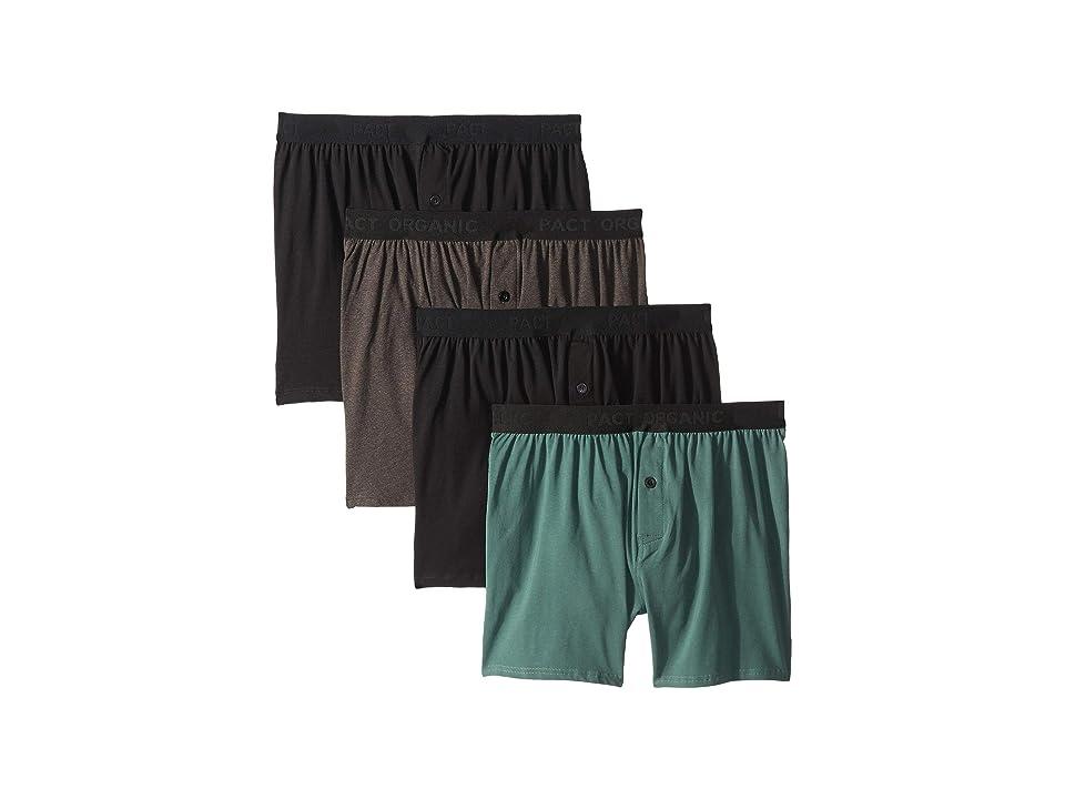 PACT Organic Cotton Knit Boxers 4-Pack (Black/Charcoal Heather/Pine) Men