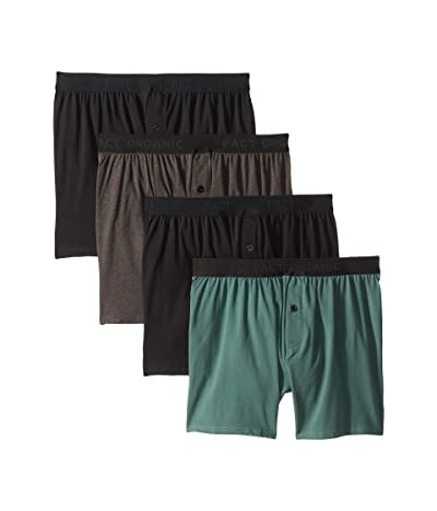 PACT Organic Cotton Knit Boxers 4-Pack (Black/Charcoal Heather/Pine) Men