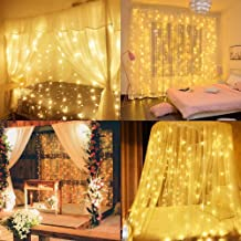 Window Curtain String Light, 300 LEDs 9.8ft X 9.8ft Fairy Twinkle Lights with Mode Controller 8 Modes IP65 Waterproof for ...