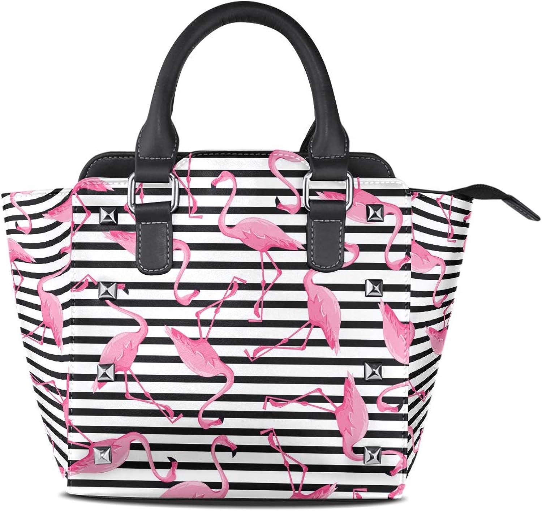 My Little Nest Women's Top Handle Satchel Handbag Tropical Theme Flamingoes Stripes Ladies PU Leather Shoulder Bag Crossbody Bag