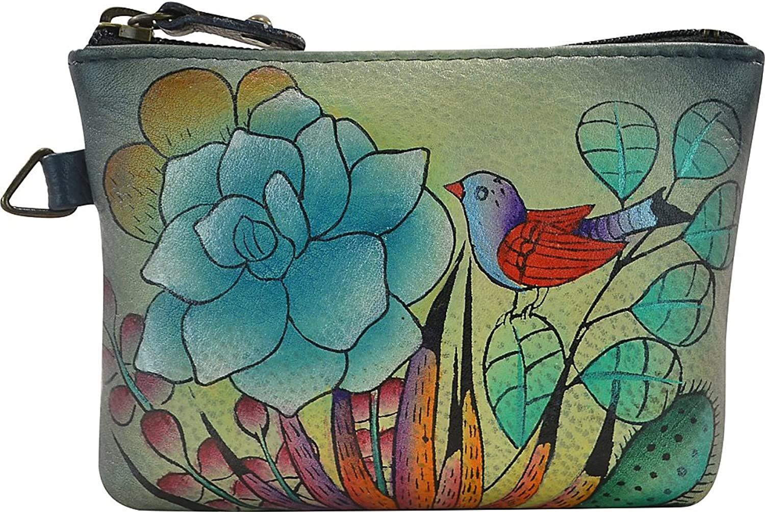 ANNA by Anuschka Hand Painted Coin Pouch (Succulent Dreams)