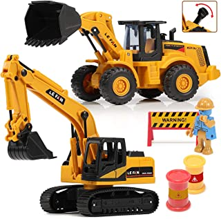 Toys Excavator Bulldozer Truck for Kids, Construction Tractor Toys, Engineer Caterpillar Construction Vehicle Sets of 2, P...