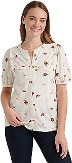 Lucky Brand Women's Short Sleeve Button Up Floral Ruffle Bib Top Shirt