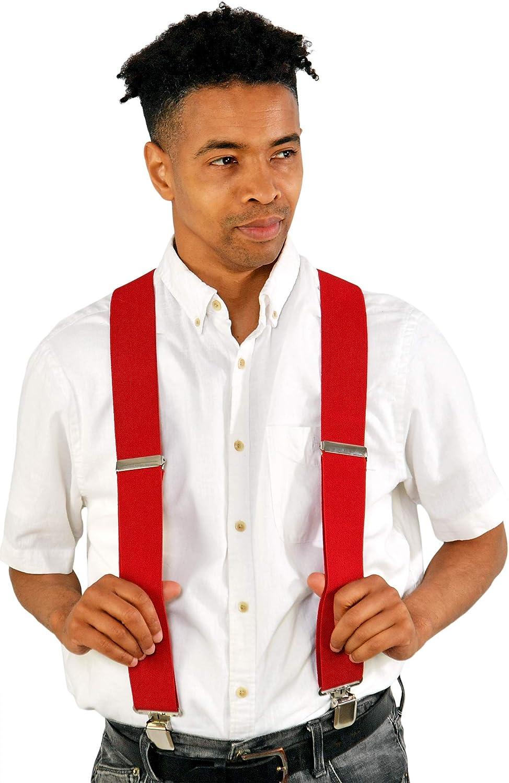 "HOME-X Men's Suspenders with Metal Clips, Adjustable 2"" Wide, Strong Elastic Suspenders for Men, Red"