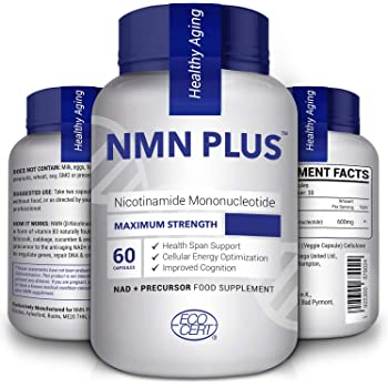 Maximum Strength NMN Capsules, 300mg Per Capsule, Naturally Boost NAD+ Levels for Mental Performance & Anti Aging, 60 Capsules Nicotinamide Mononucleotide Supplement(60 Count(Pack of 1))