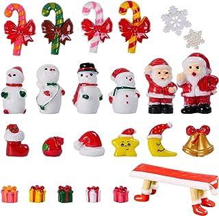 KATELUO 24 st julminiatyrprydnader, mini harts jul, mini jultomten, mini dekorativa figurer, miniatyr trädgårdsprydnader f...