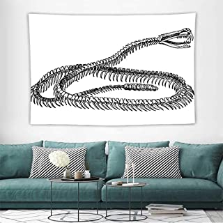 Alisoso ReptileWall Tapestries Hippie Black and White Reptile Skeleton Illustration Moving on The Ground Wild Exotic Snake Tapestry Wallpaper Home Decor W91 x L60 inch