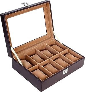 Leather World Pu Leather 8 Slot Designer Men and Women Watches Box Case Organizer