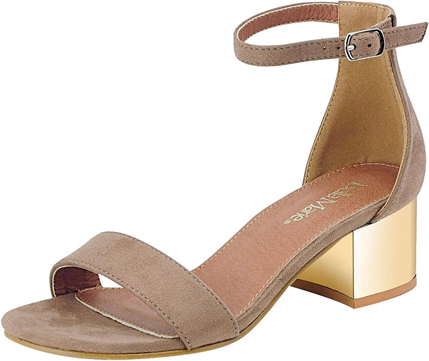 Bella Marie Women's Strappy Metallic Block Heel Sandal