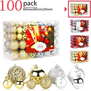 Aitsite 100 Pack Christmas Tree Ornaments Set Mini Shatterproof Holiday Ornaments Balls for Christmas Decorations (Silver & Gold)