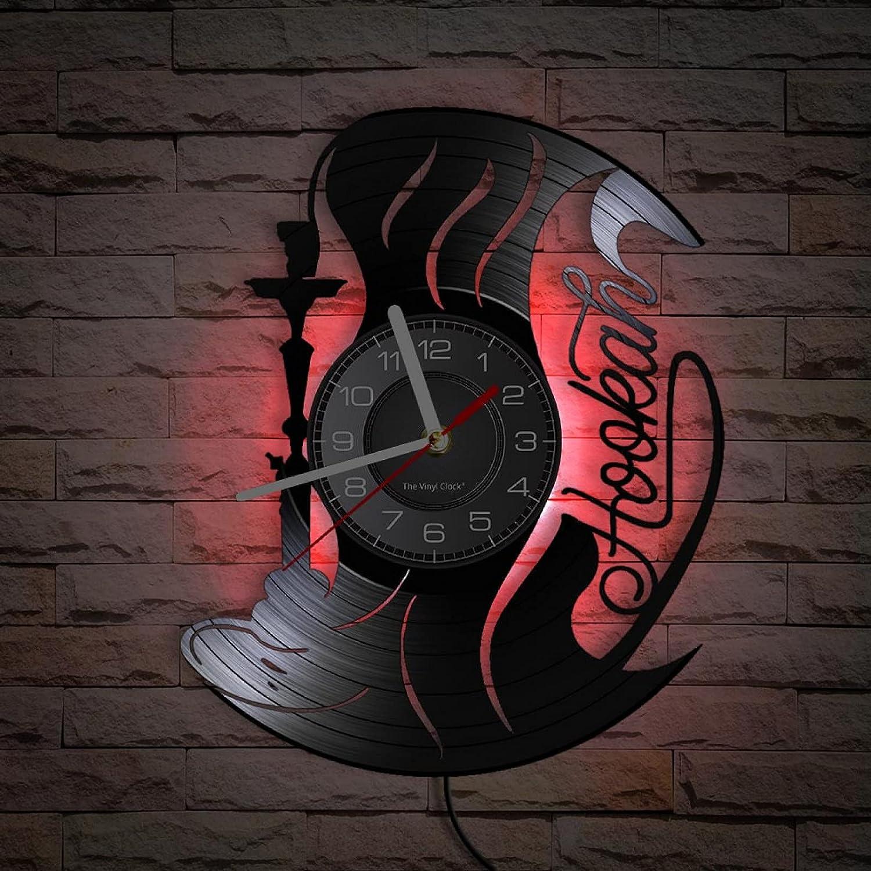 Reloj de Pared con Registro, Reloj de Pared de cachimba, decoración Artesanal de Vinilo Vintage para Hookah, Club,salón, Bar, Shisha, Arte de Fumar, Reloj de Cuarzo silencioso