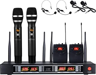 Hotec 4-Channel Wireless Microphone System with 2 Handheld Mics 2 Lapel Microphones and Metal Receiver, Ideal for Home KTV Party Karaoke Wedding Church DJ Studio Recording