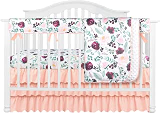 4PCS Crib Bedding Set Baby Minky Blanket Nursery Bed Skirt Set Set for Baby Girls & Boys (Pink Wine Floral, 4pc Set)