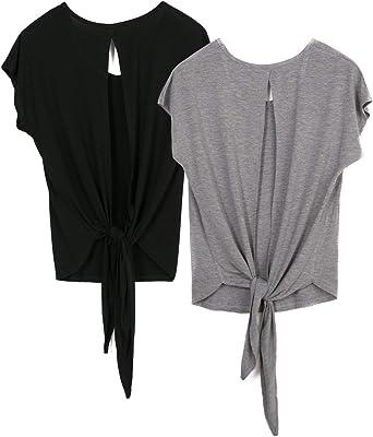 icyzone Camiseta Deportiva de Manga Corta de Espalda Abierta para Mujer, Pack de 2