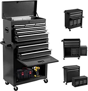 8-Drawer Rolling Tool Chest 2 in 1 High Capacity Tool Box Detachable Organizer Tool Storage...