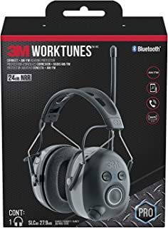 3M WorkTunes Connect + AM/FM Hearing Protector with Bluetooth Wireless Technology, NRR 24 dB, Ear protection for Mowing, S...