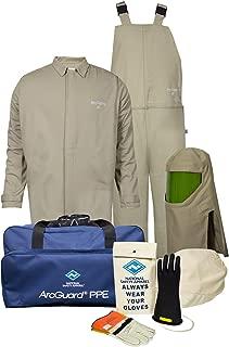 National Safety Apparel KIT4SC40EC2X10 ArcGuard Economy Arc Flash Kit with Short Coat and Bib Overall, 40 Calorie, XX-Large/Glove Size 10, Khaki