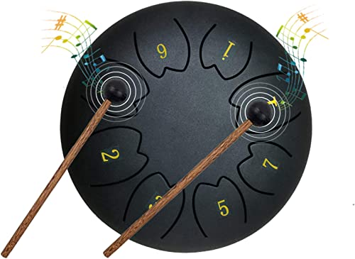 EiDevo Tamborde Lengüetas,6 Pulgadas 8 Notas Tambor de Lengua de Acero, Tambor de Mano deAcero Percusión Instrumento ...