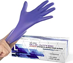 Powder Free Disposable Gloves Large - 100 Pack - Nitrile and Vinyl Blend Material - Extra Strong, 4 Mil Thick - Latex Free...