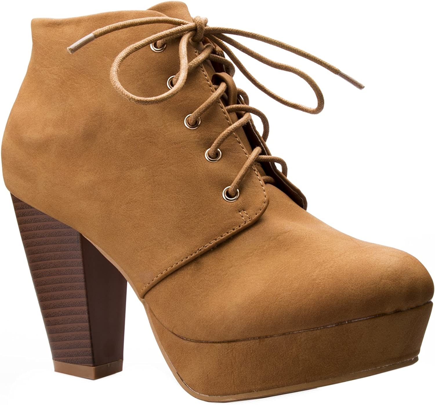 OLIVIA K Women's Lace up Platform Stacked Chunky Heel Bootie