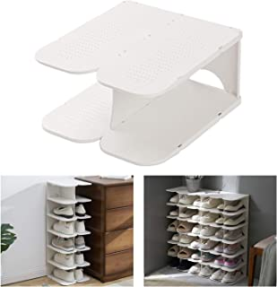 ACPOP Shoe Slots Organizer, Adjustable Shoe Rack,Better Stability Shoe Organizer,Shoe Stacker,Space Saver,Pack of 2,White
