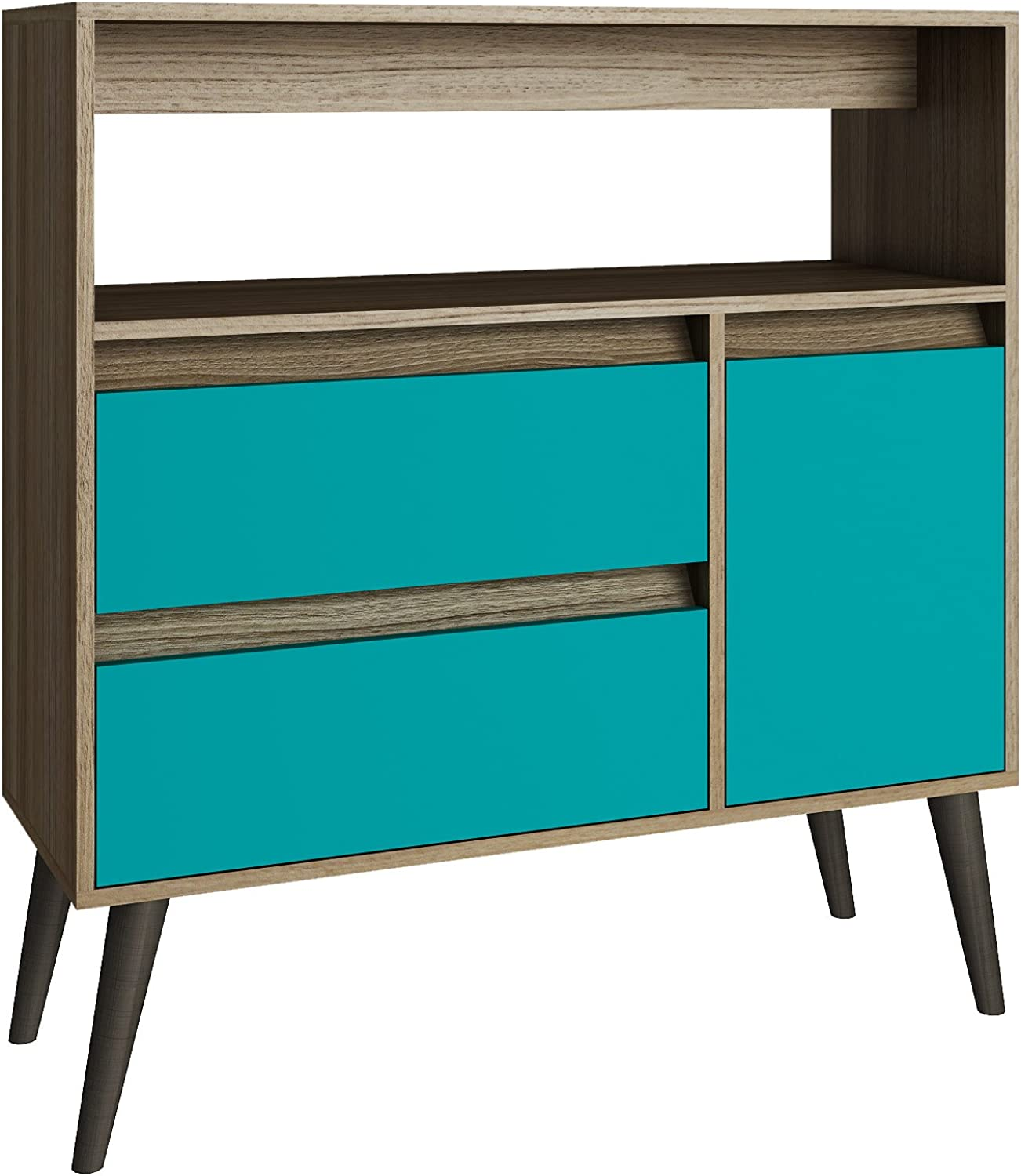 Manhattan Comfort Accentuations by Functional Gota High Side Table with 1-Shelf, 2-Drawers and 1-Door in Oak and Aqua