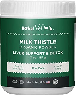 Certified Organic Milk Thistle Powder for Cats and Dogs - Easy to Mix with Wet or Dry Food- Promotes Healthy Liver Function and Detox for Pets