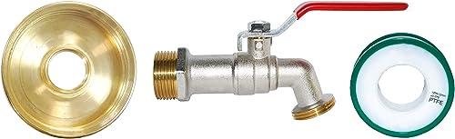 Boutté R1000L-KIT-R15 Kit adaptateur de cuve 1000l ø60 + robinet 1/4 tour 15x21 nez 20x27, Multicolore