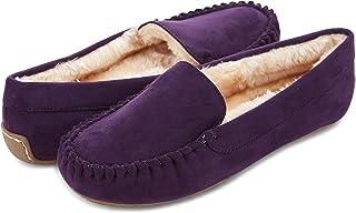 Floopi Womens Indoor/Outdoor Basic Memory Foam Moccasin Slipper W/Faux Fur Collar