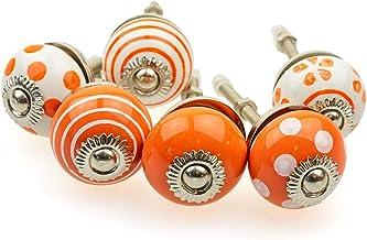 Möbelknopp möbelknopp möbelhandtag uppsättning av 6 KLEIN 089GN_SM prickar cirklar prickar vit orange – jay knapp keramik ...