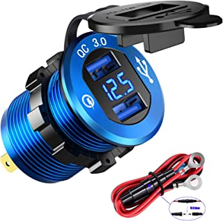 YONHAN Quick Charge 3.0 Dual USB Charger Socket, Waterproof Power Outlet Fast Charge with LED Voltmeter & Wire Fuse DIY Kit for 12V/24V Car Boat Marine ATV Bus Truck and More - Deep Blue