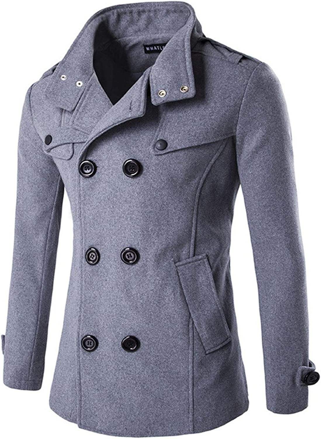 Retrograder Men's Stand Collar Trench Winter Jacket Double Breasted Overcoat