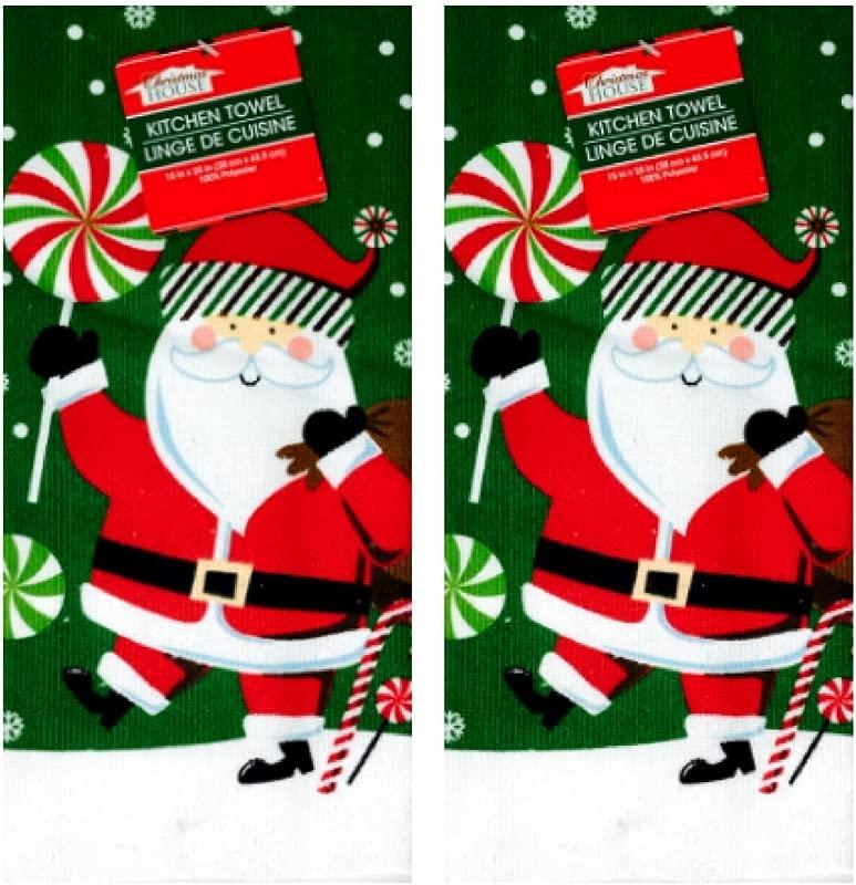 Christmas Dish Guest Towel Set Of 2 Santa Design Great Gift
