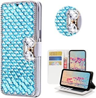 Nokia 3.1 Wallet Case,Bling Diamond Bowknot Shiny Crystal Rhinestone PU Leather Card Slot Pouch Flip Cover Kickstand Case for Girl Woman Lady (Sky Blue)