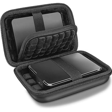 ProCase 携帯用ハードケース 耐衝撃ハードEVA材質 2個収納可能 対応機種:2.5インチのハードディスク Western Digital Elements/WD My Passport/Canvio Basics/Seagate Backup Plus Slim Expansion 1TB 2TB 3TB 4TB USB 3.0 - ブラック