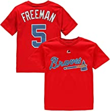 OuterStuff Freddie Freeman Atlanta Braves MLB Majestic Youth 8-20 Red Official Player Name & Number T-Shirt (Youth Large 14-16)