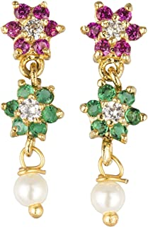 Archi Collection Traditional Ethnic Jewellery Pink & Green Earrings Studs for Girls and Women
