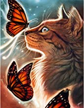 5D Diamond Painting Kits Full Drill Diamond Embroidery (Butterfly and cat, 12x16)
