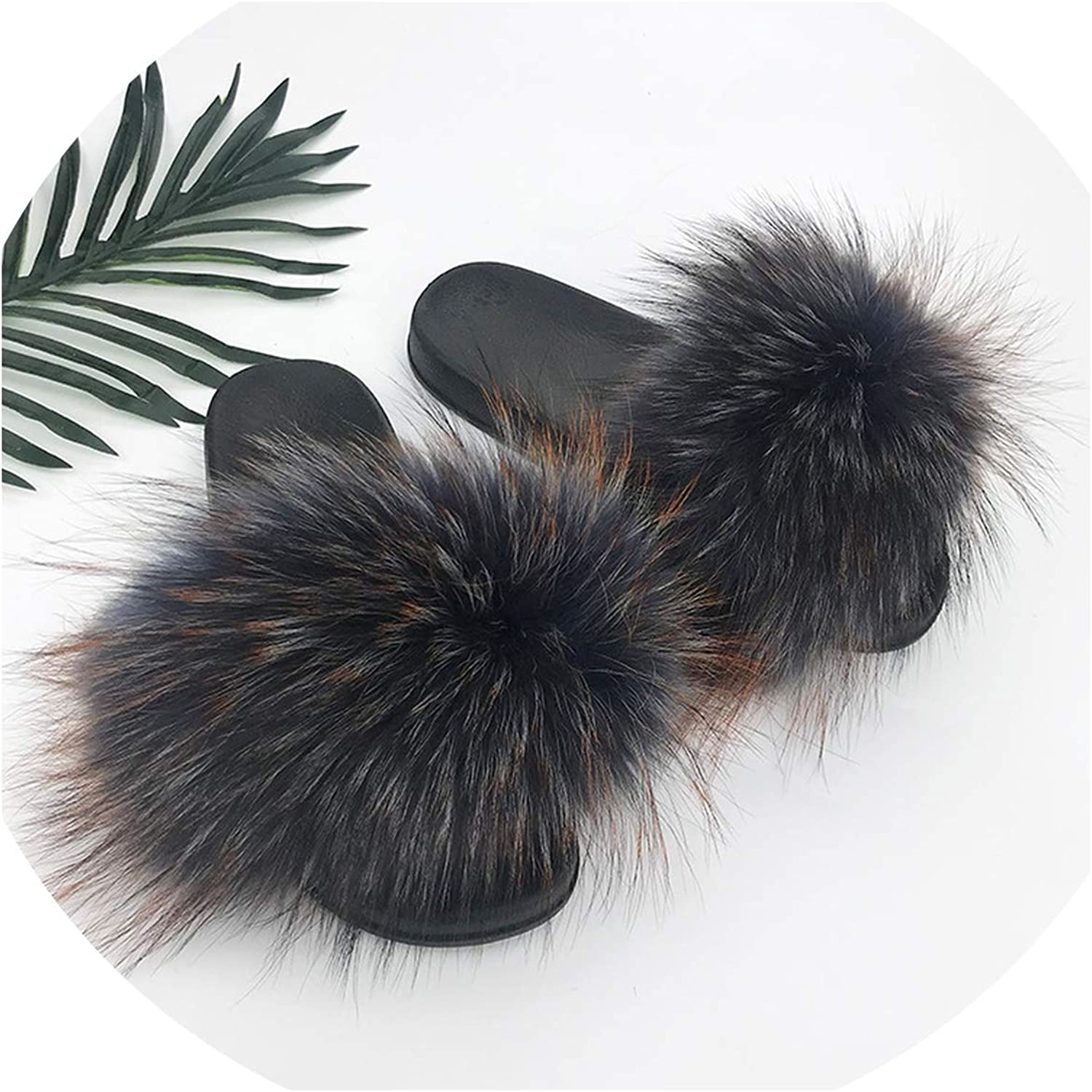 Just XiaoZhouZhou 28 colors Real Fur Slippers Women Fox Fluffy Sliders Comfort with Feathers Furry Summer Flats Sweet Ladies shoes Plus Size 36-45,3,91