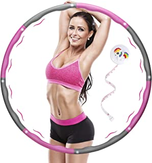 Weighted Fitness Hula Hoops Exercise 1 kg(2.2lbs), Smart Hula Hoop for Weight Loss, Ajustable Size Hula Hoop 8 Section Detachable For Adults and Children
